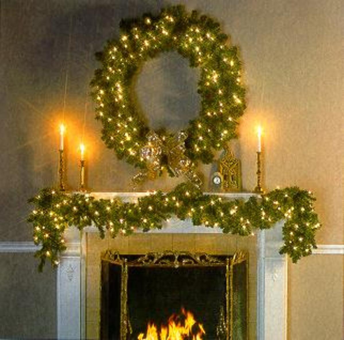 Garland christmas lights for Christmas garland on fireplace