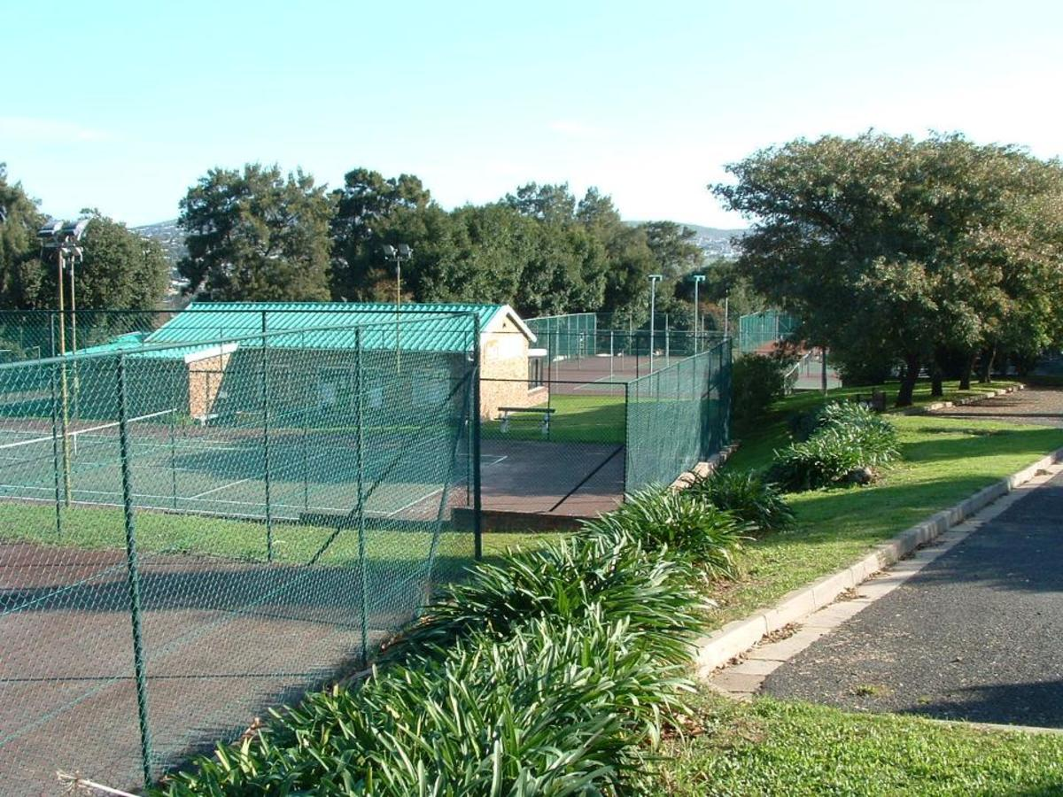 The tennis club viewed from the parking lot above.