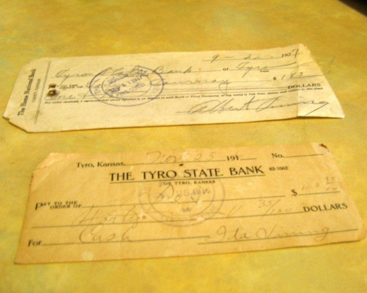These are checks from the Tyro State Bank (Albert Vining and Ida Vining are my grandmother's siblings).
