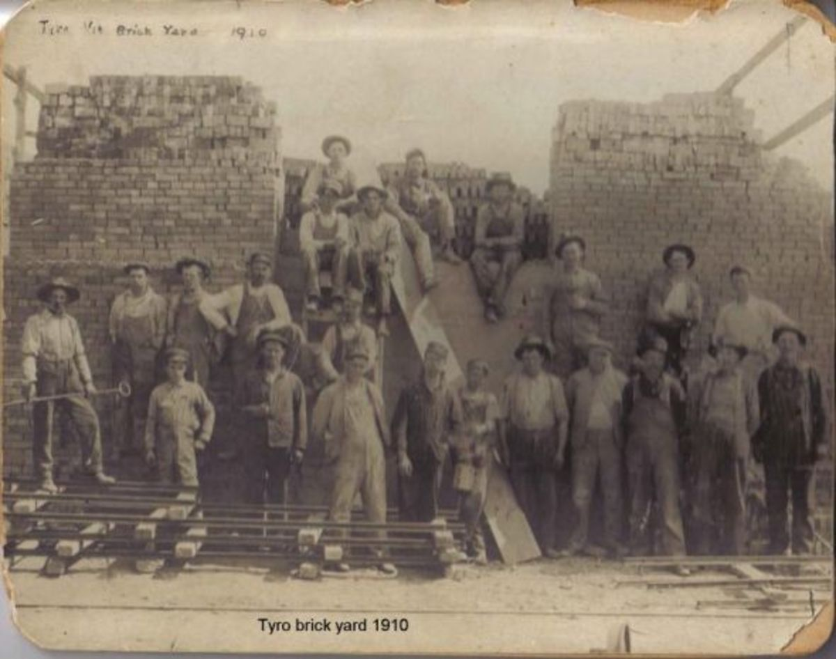 Workers at the brick factory in Tyro