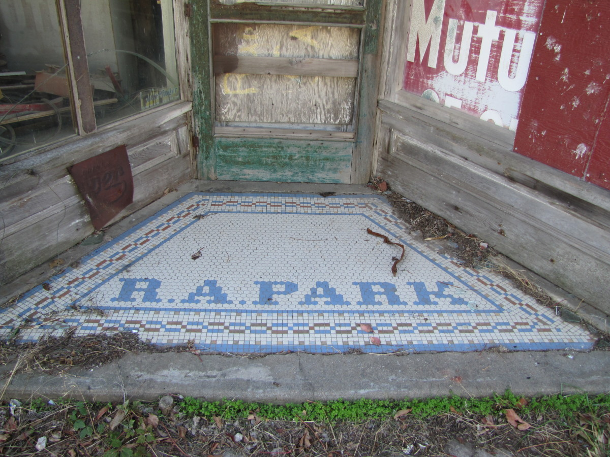 Faded glory, the tiled entrance to the R.A. Park store. (photo by Virginia Allain, October 2012)