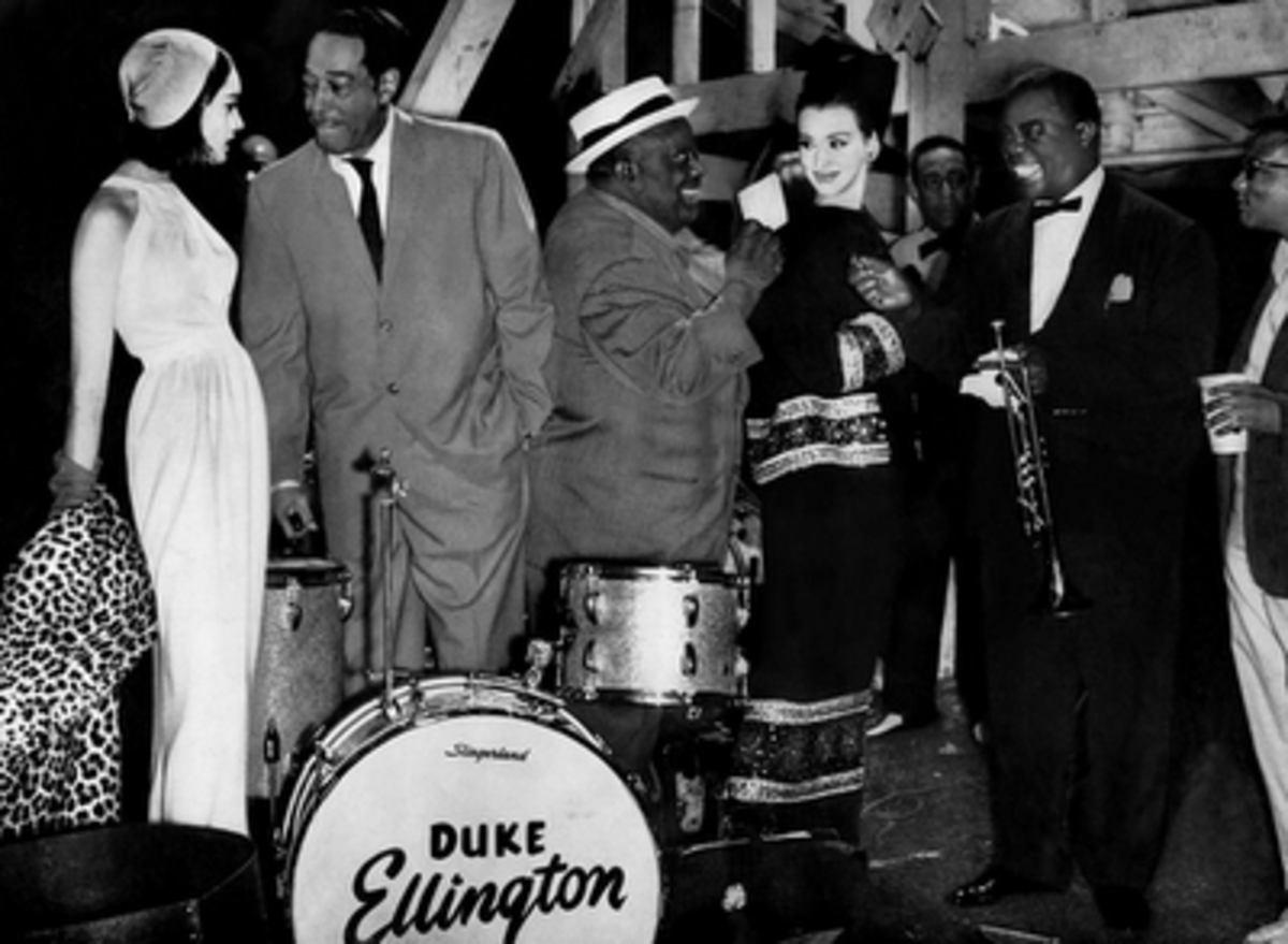 Duke, Armstrong and Singer Jimmy Rushing; Hanging out with High Fashion Models Backstage at Newport 1962
