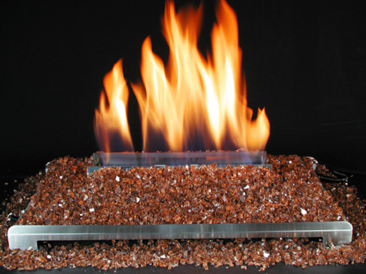 copper crushed glass fireplace alternative to ceramic gas log fireplace