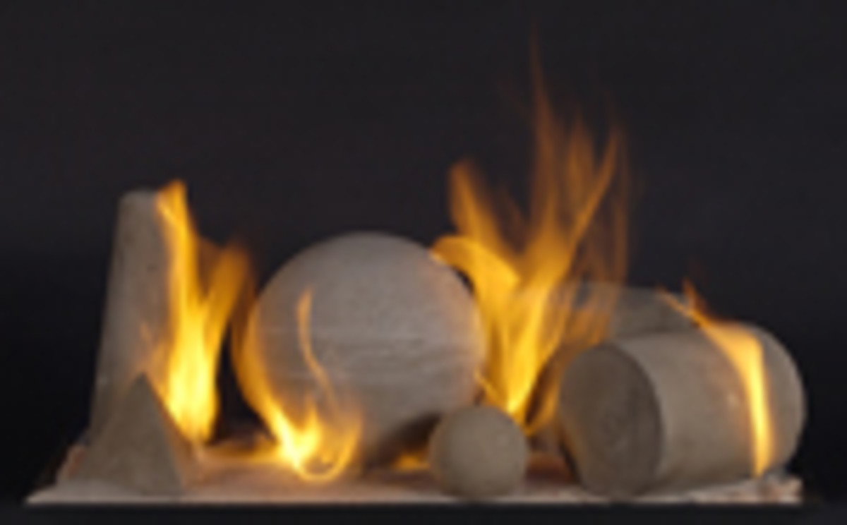 vented alternative gas log fireplace shapes