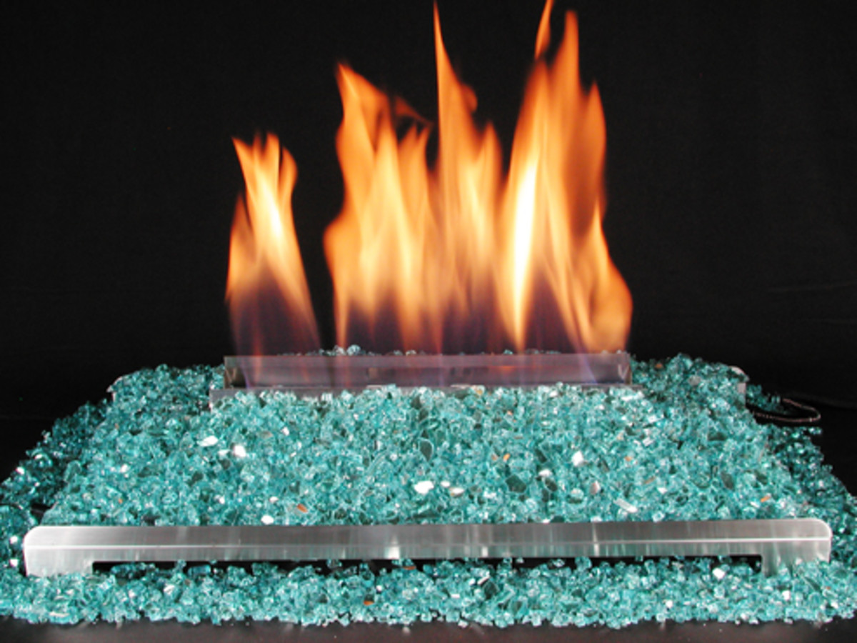 ventless gas log with crushed green glass fireplace