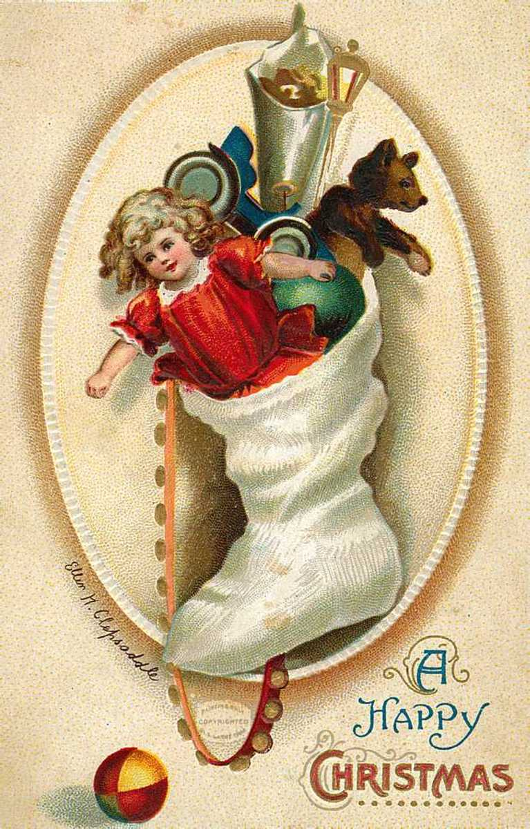 Vintage Christmas cards: Christmas stocking filled with antique toys and doll