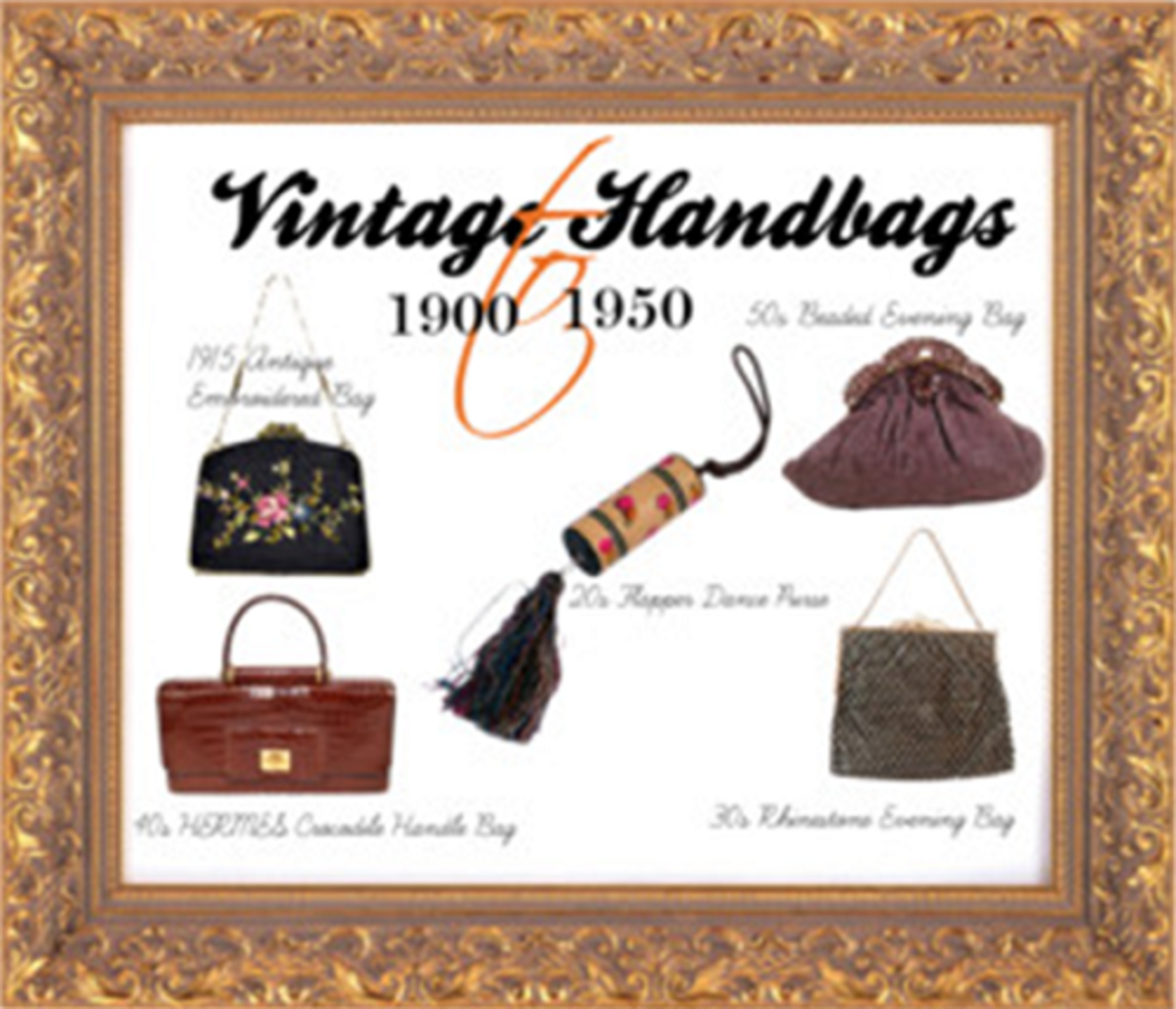 Styles of popular vintage style women handbags and purses of the early to mid-20th century