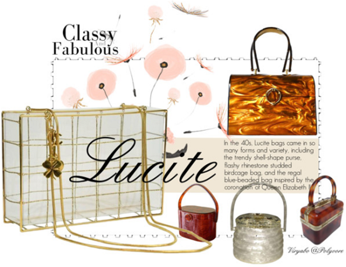 Vintage-inspired reproductions of the 1940s Lucite handbags made mainly from wood or plastic materials.