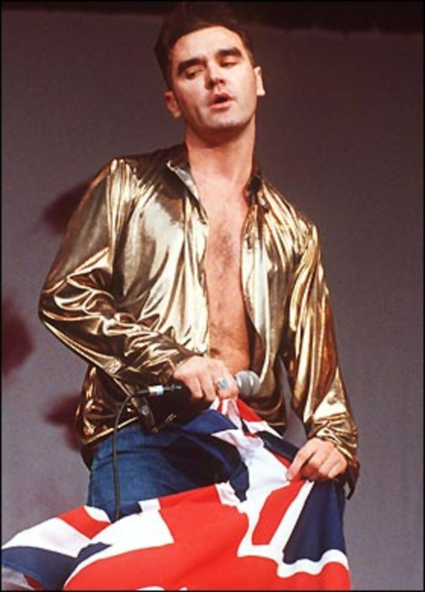 "Morrissey, wrapped in the flag at ""Madstock"" in 1992"