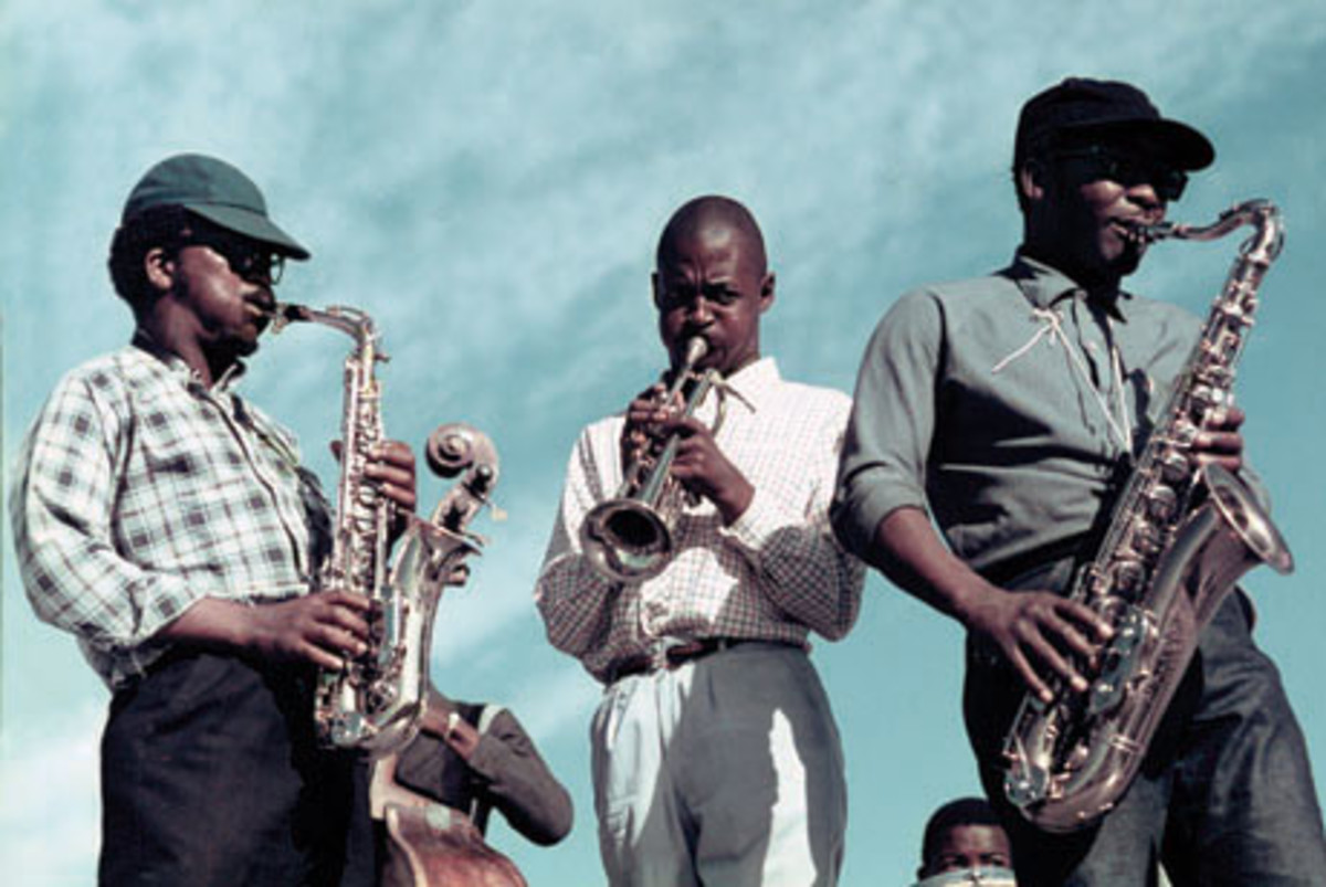 Danayi Dlova, Duke Ngcukana and Cups Nkanuka. Photo from Keeping Time 1964–1974: The Photographs And Cape Town Jazz Recordings
