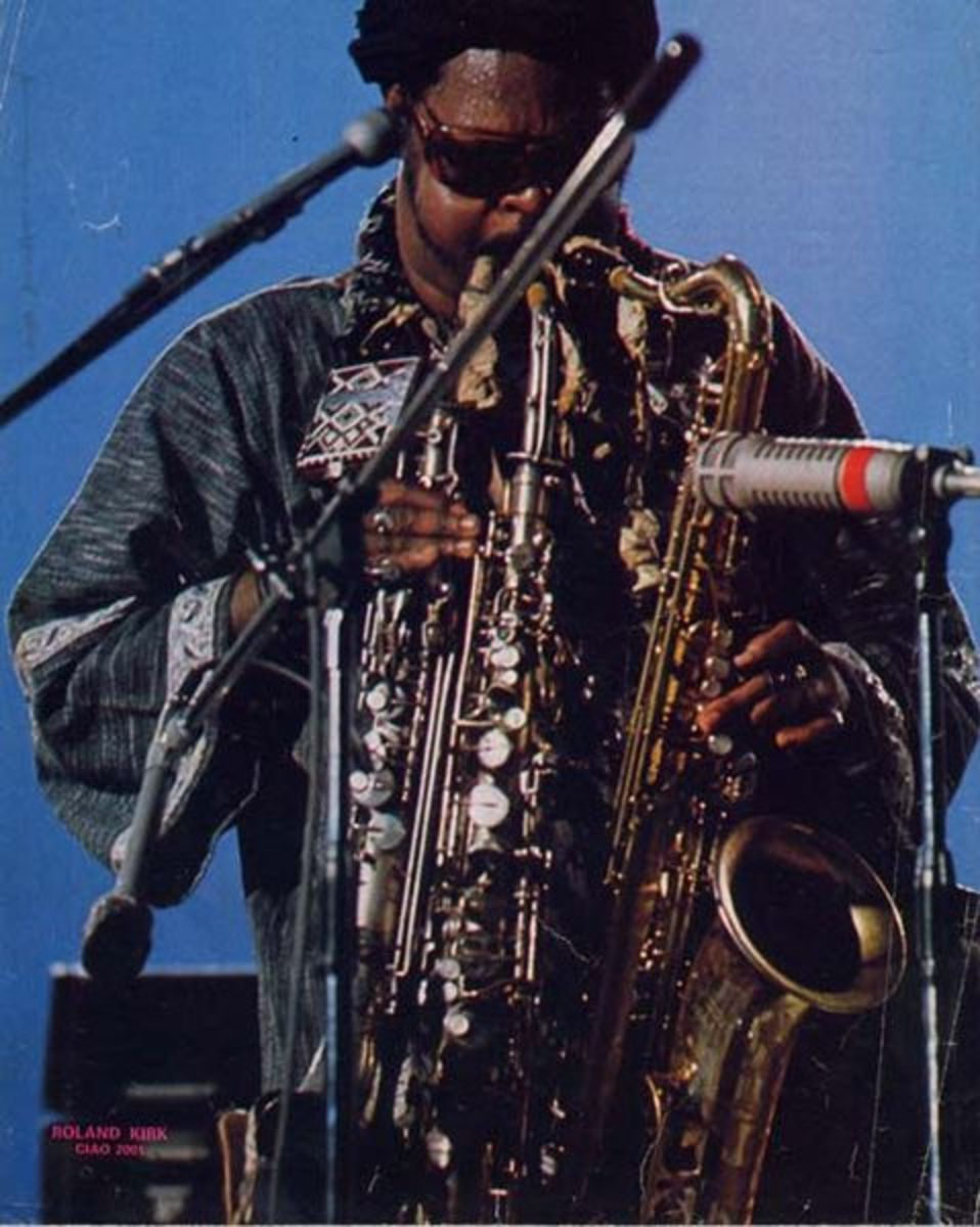 Rhasaan Roland Kirk used multiple horns to play true chords, and functioned as a one man saxophone section.