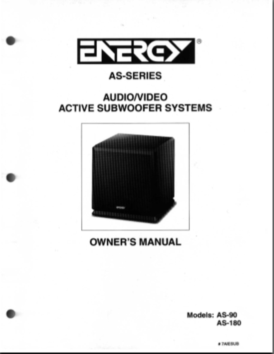 Energy AS-180 Subwoofer Review, Repair & Info