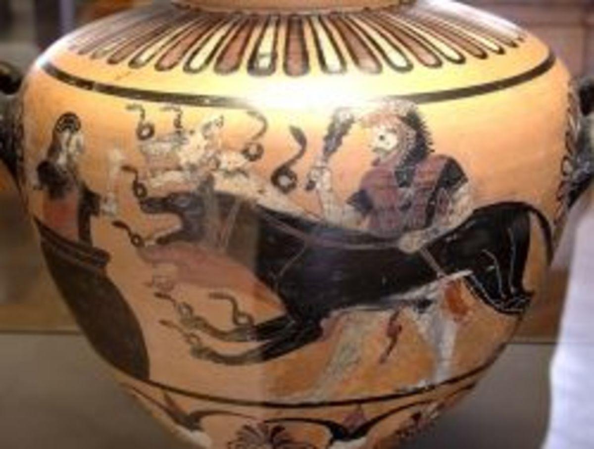 Eurystheus hiding from Kerberos in a jar