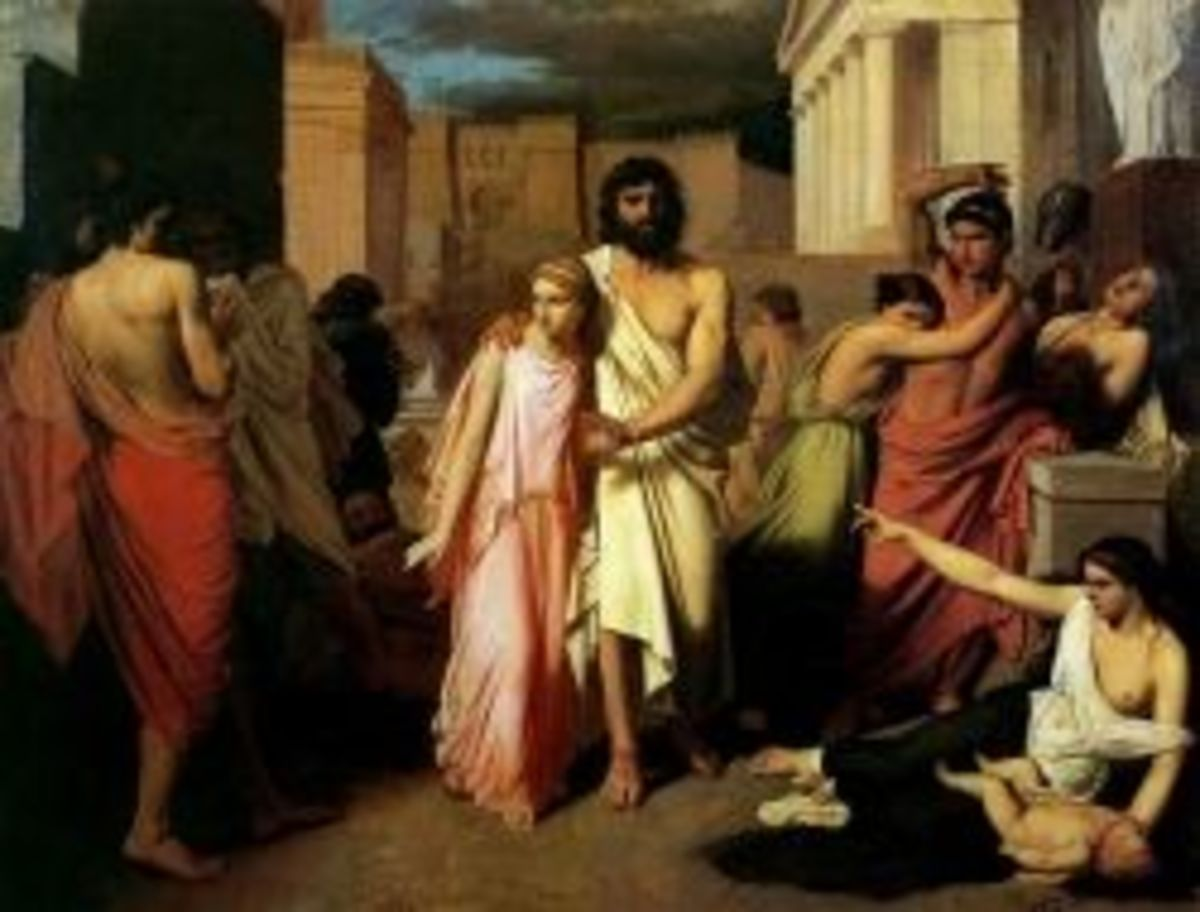 Oedipus and his daughter Antigone, by Charles Francois Jalabert