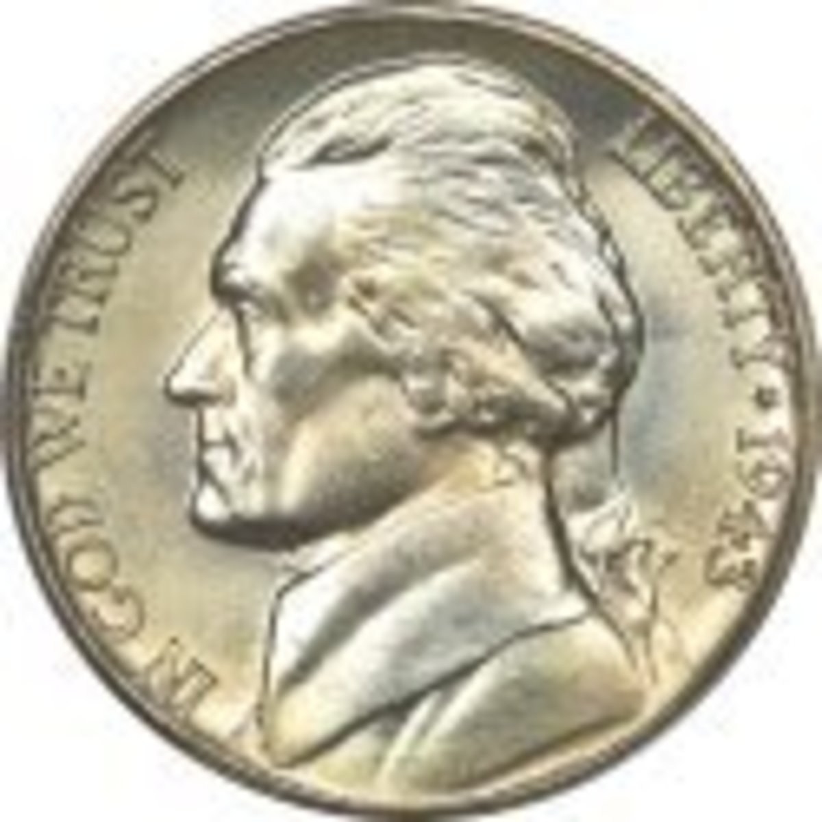 "A U.S. Silver ""Wartime"" Nickel."