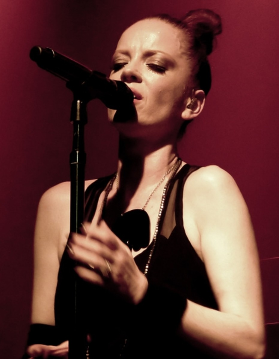 Singer Shirley Manson performing live in 2012.