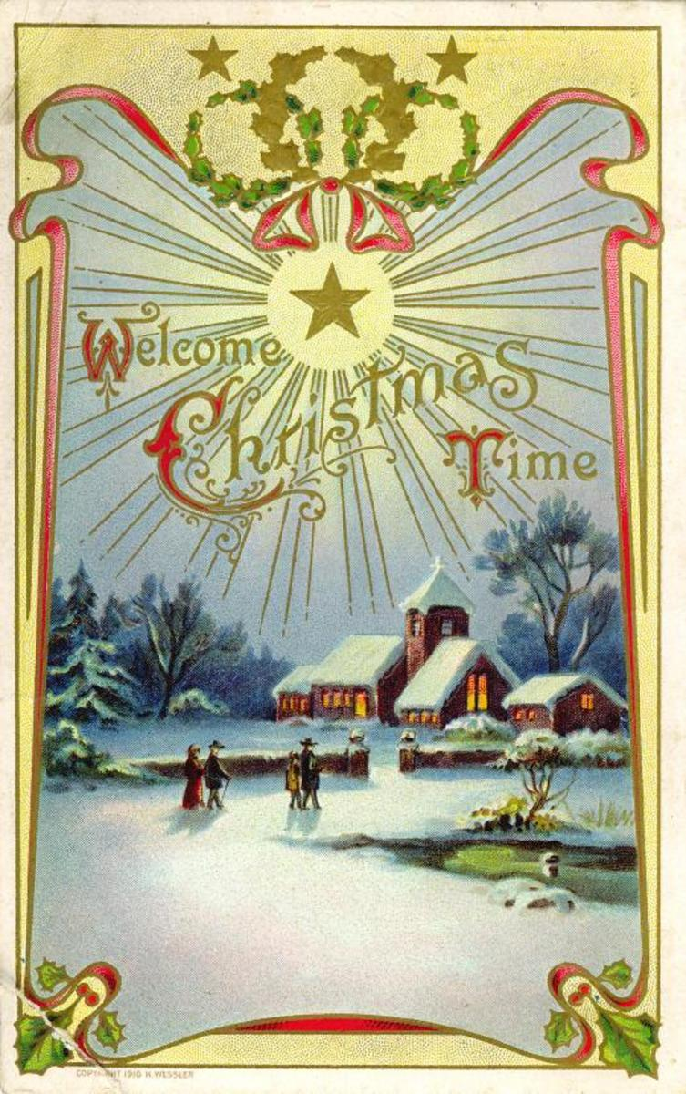 Free Victorian Christmas card with church, snow, pine trees and frozen pond