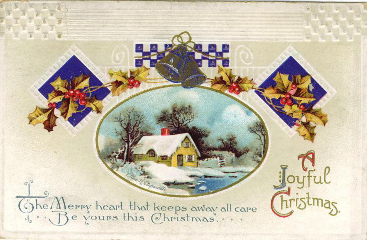 Free Victorian Christmas card with a house in the snow with a frozen pond and an ornate holly and bell border