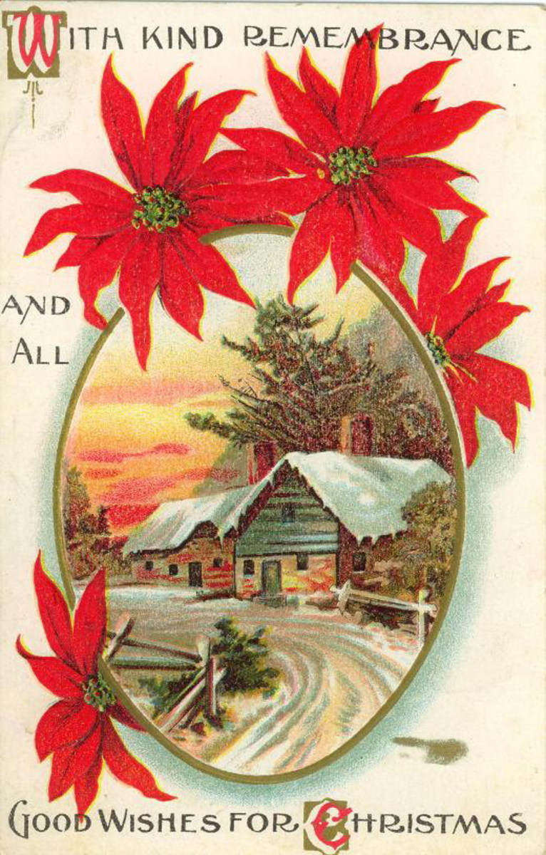 Victorian Christmas card with cabin in the winter snow surrounded by a poinsettia border