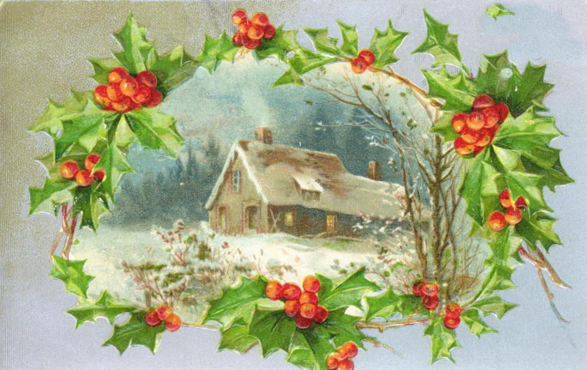 Victorian Christmas card with house in the snow and a holly border