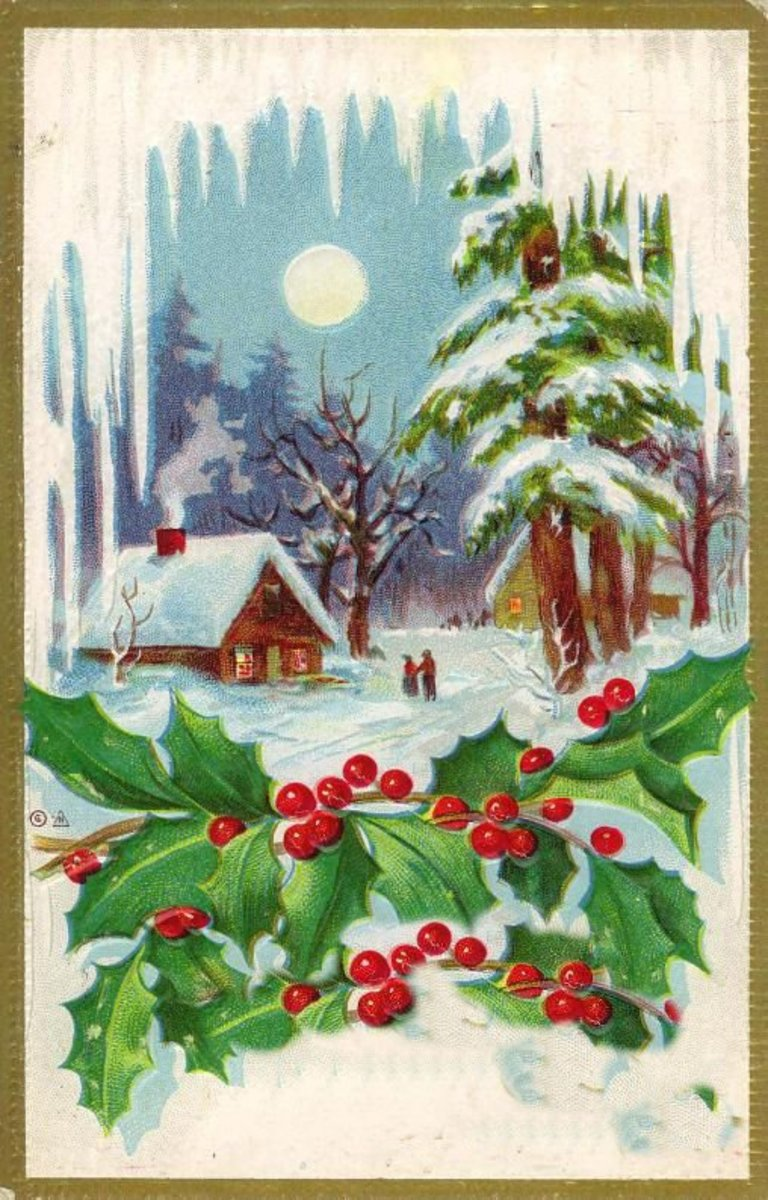 Victorian Christmas card with cabin in the winter snow with a full moon, fronted by holly and icicles