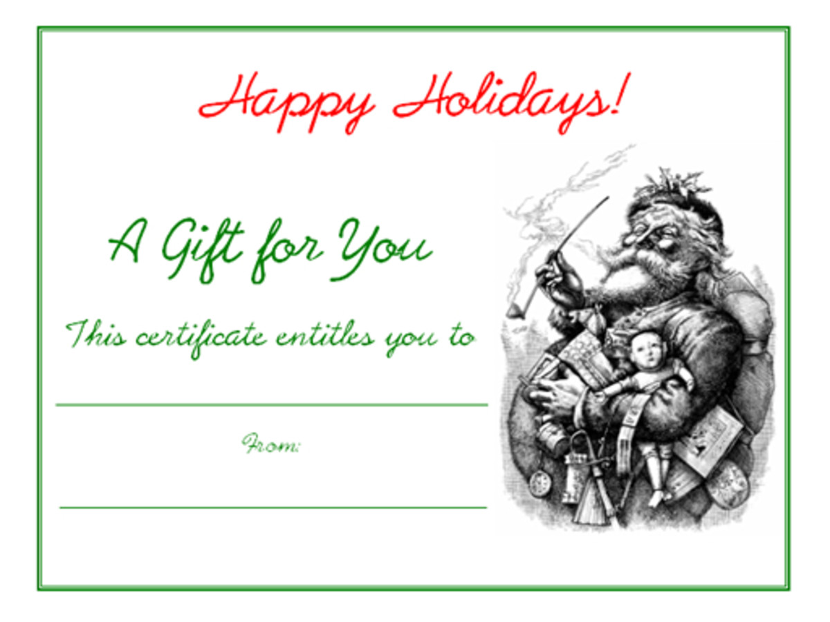 "Click the ""Free Printable Holiday Gift Certificates"" link to the left to access this and three other free printable Christmas and Hanukkah gift certificates"