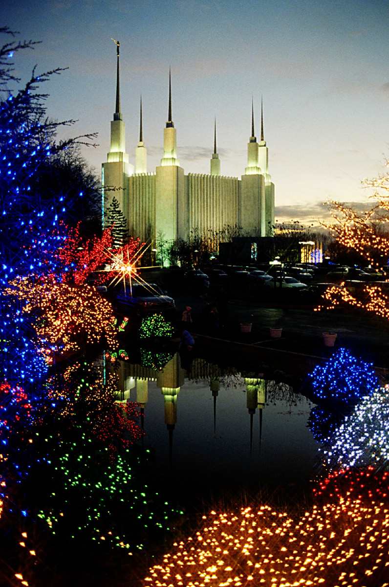 The beauty of the Washington DC Mormon Temple in Christmas lights.