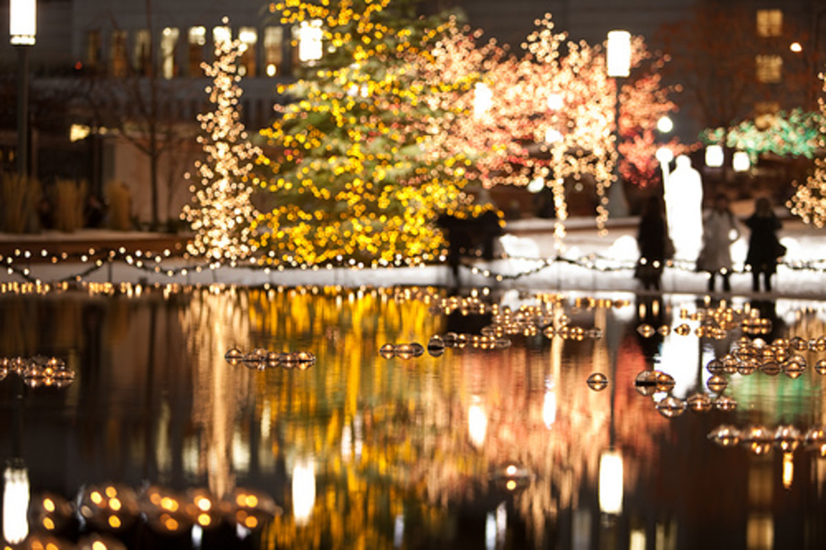 Salt Lake City Mormon Temple Reflection Pond illuminated with Christmas lights.