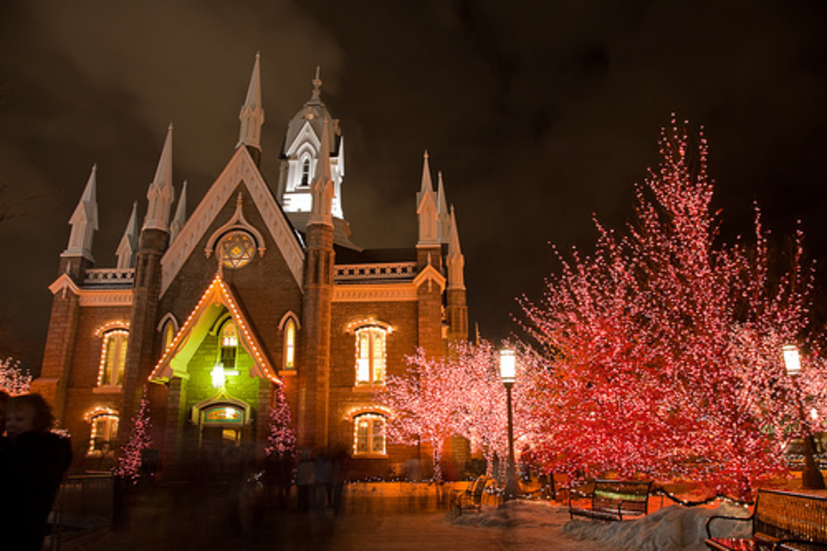 LDS Assembly Hall on Temple Square in Salt Lake City adorned with Christmas lights.