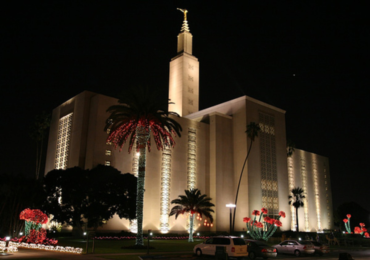 Los Angeles California Christmas light display at the LDS Temple.