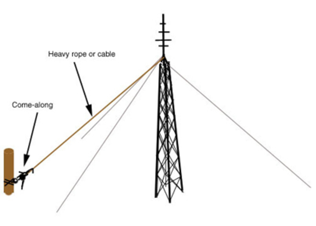 Find a hard point and attach a cable or rope from the top of the tower to a come-along attached to the hard point.