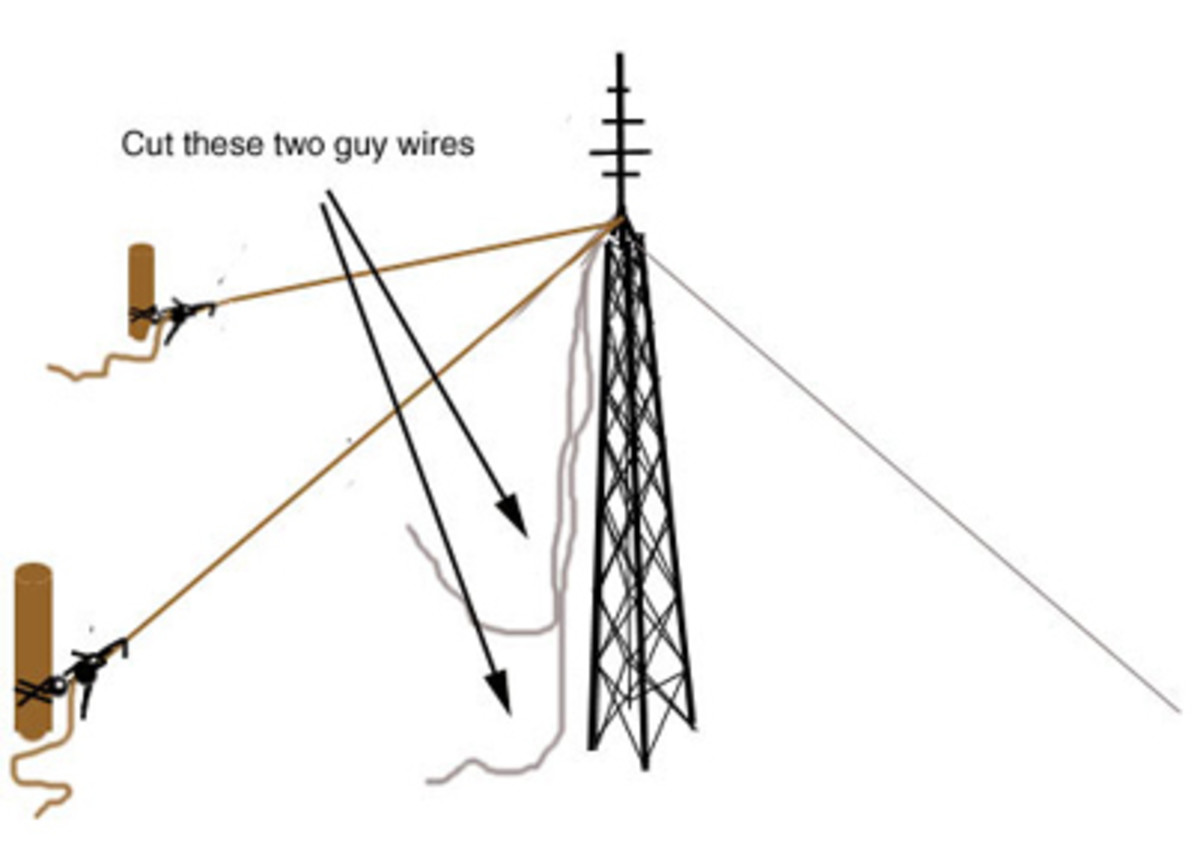 Cut the guy wires on the same side as the cable or rope.