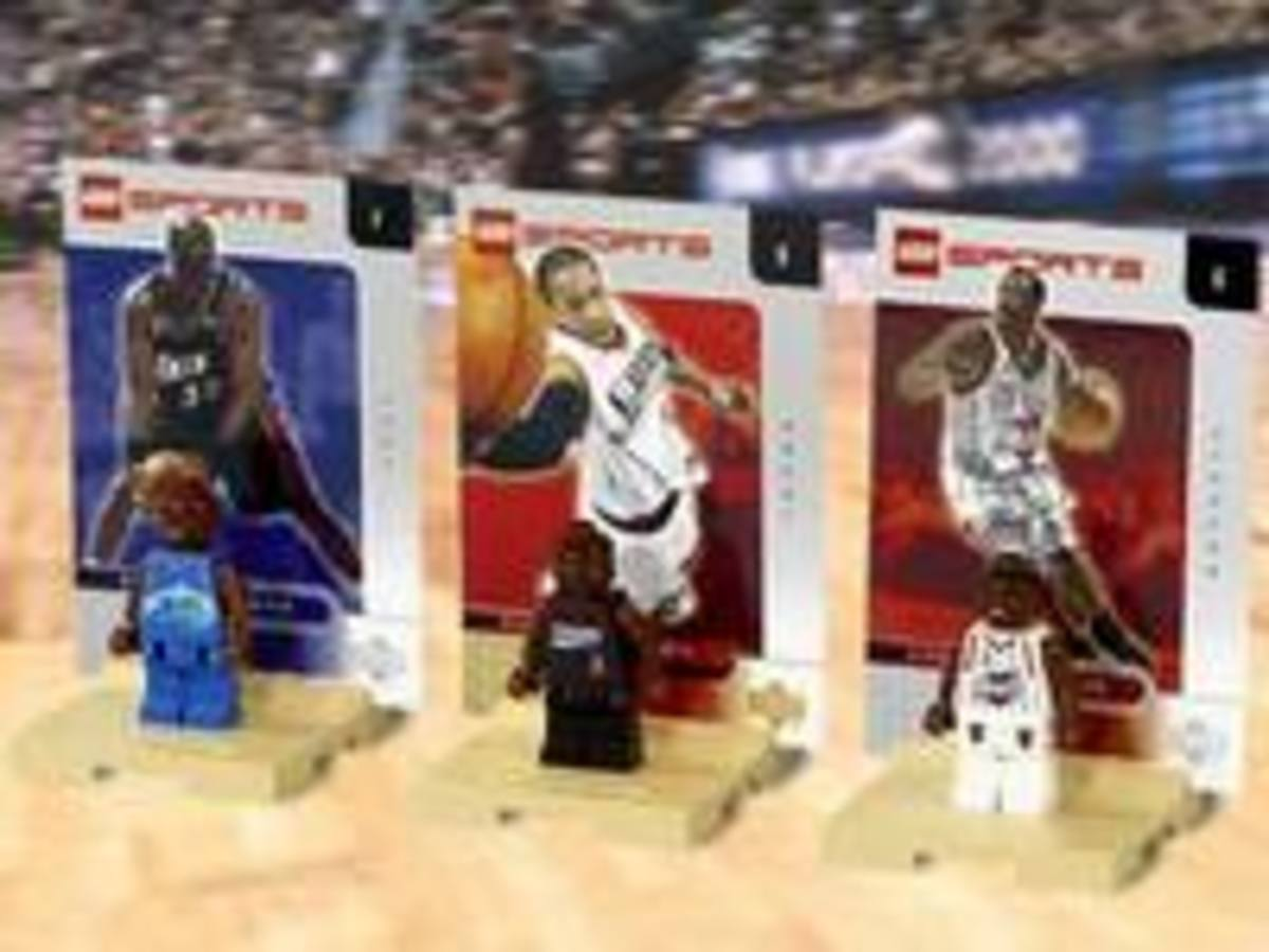 Allen Iverson, Steve Francis and Karl Malone lego minifigures