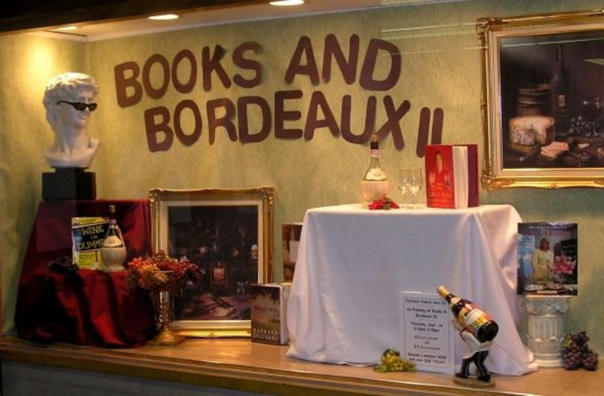 Another display by Sharon Moore - Books and Bordeaux (books about wine)