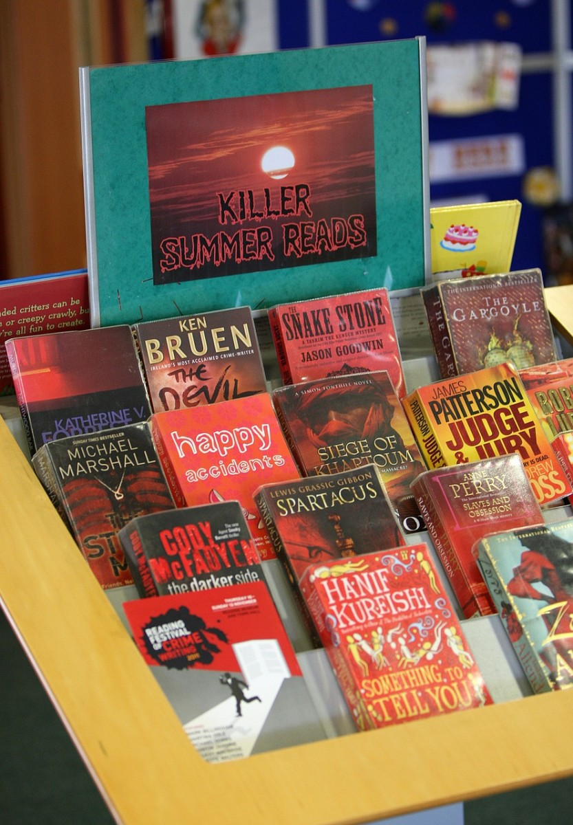 Killer Summer Reads makes a great slogan to feature murder mysteries and true crime books.