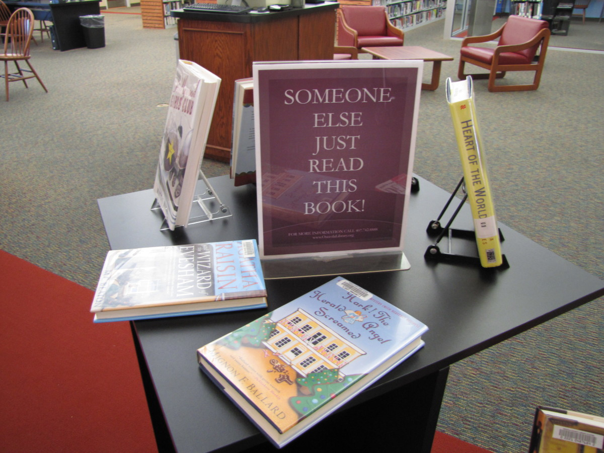 A display at the Osceola County Public Library in Central Florida.  There's a certain cachet to a book that someone else has just read.