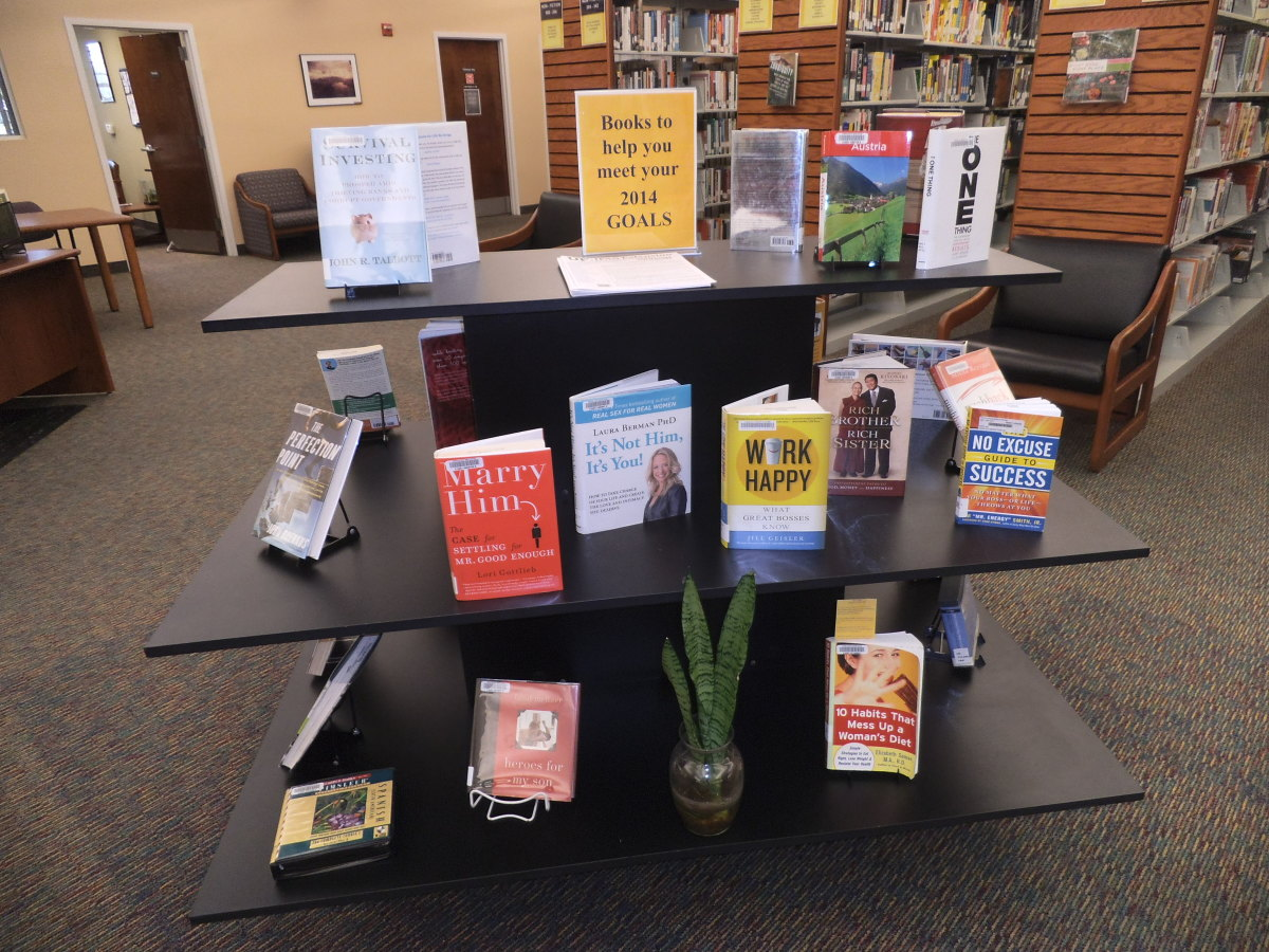 In January, a display of books on goals is popular.