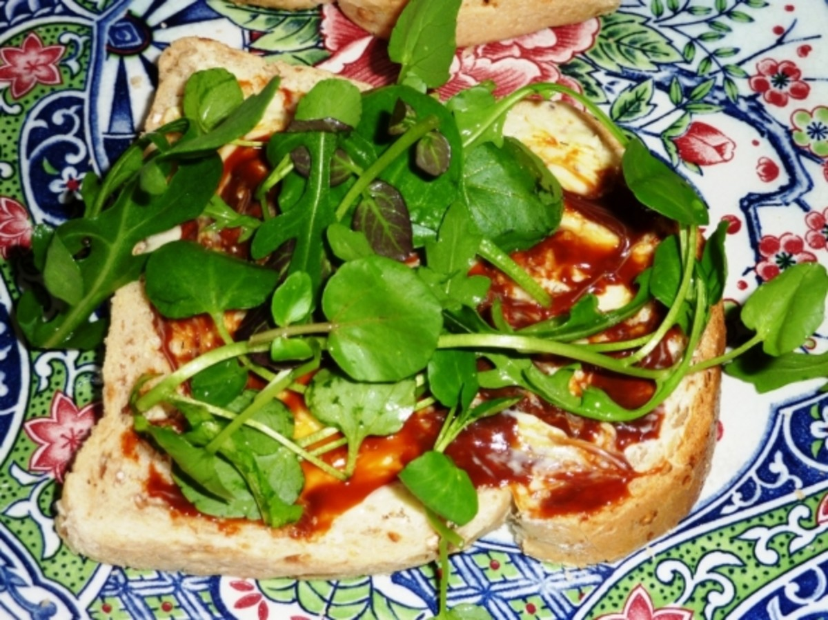 Marmite with spinach, rocket and watercress.