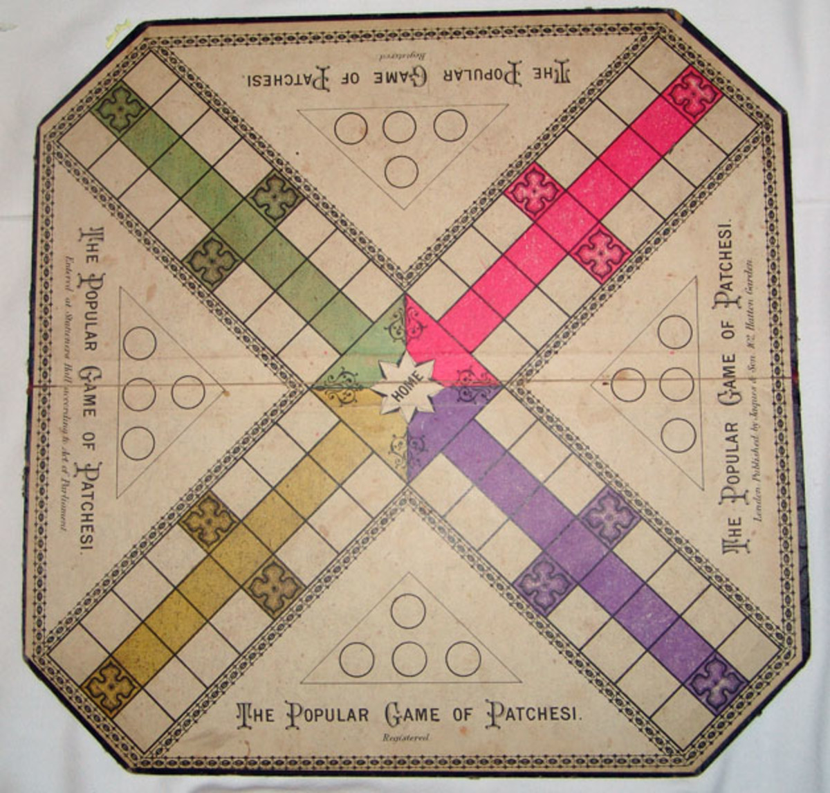 Early Parcheesi Board (courtesy of Rick Tucker)