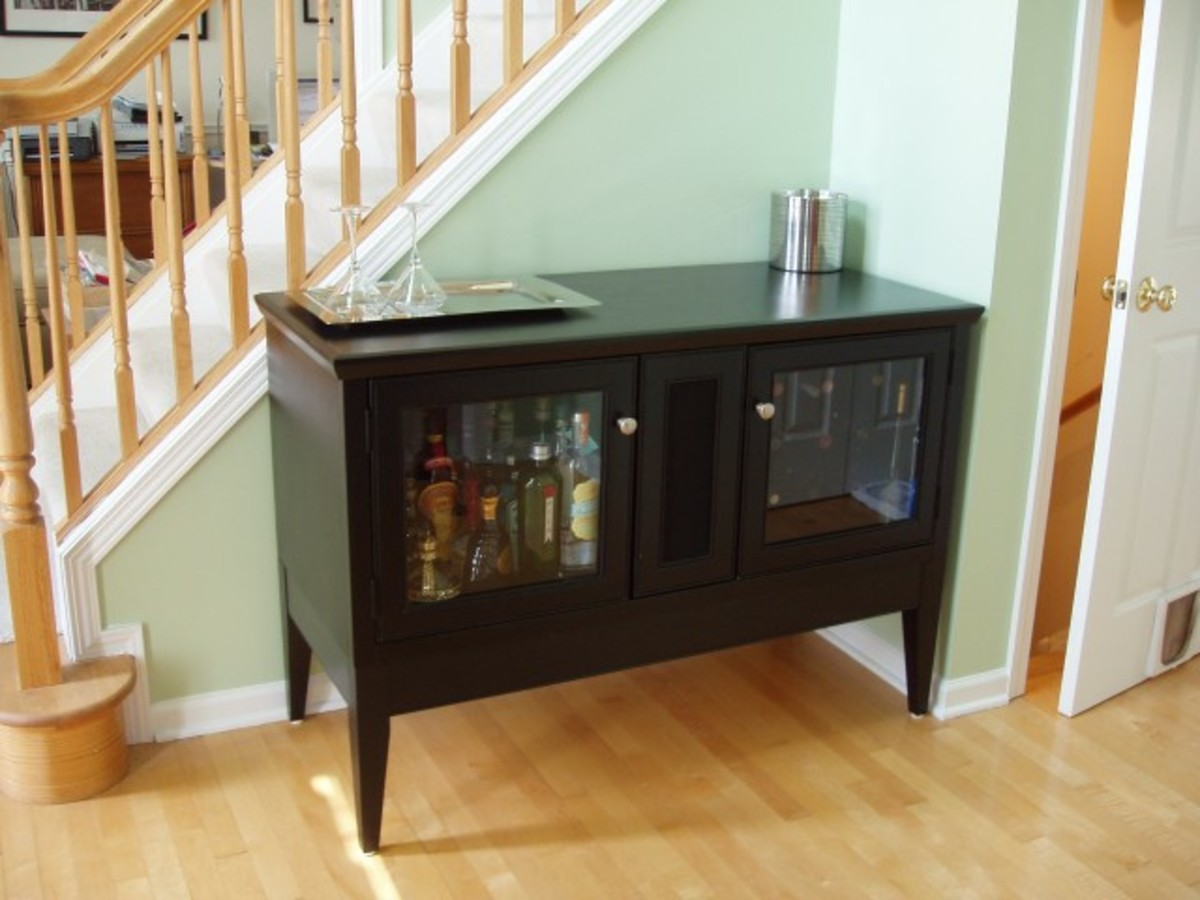Transforming a piece of furniture into a new buffet table or bar (How to add new table legs)