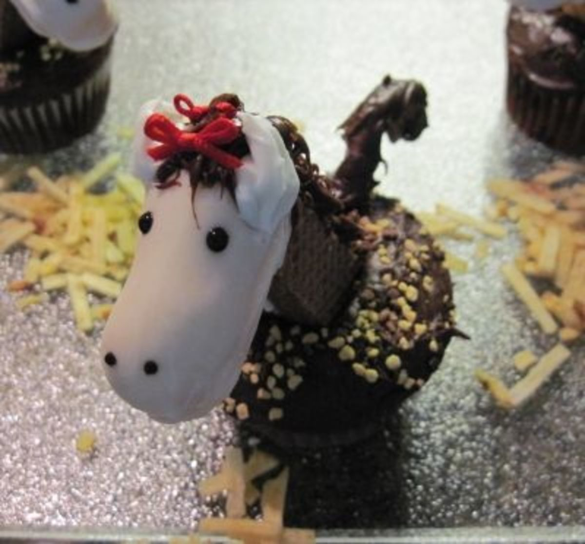 We added Red Bows on our Horse Cupcakes