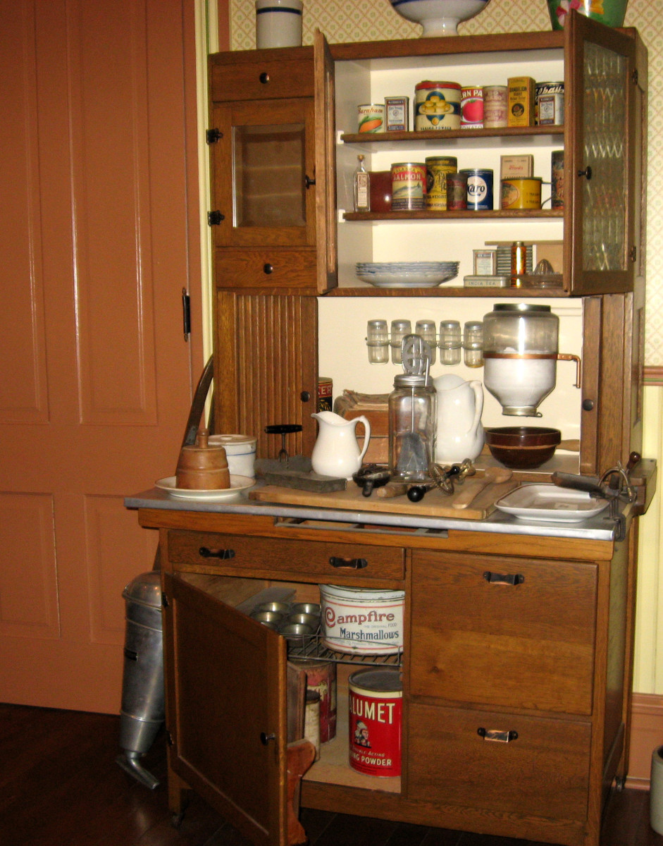 Vintage Hoosier cabinet with flour dispenser and spices.