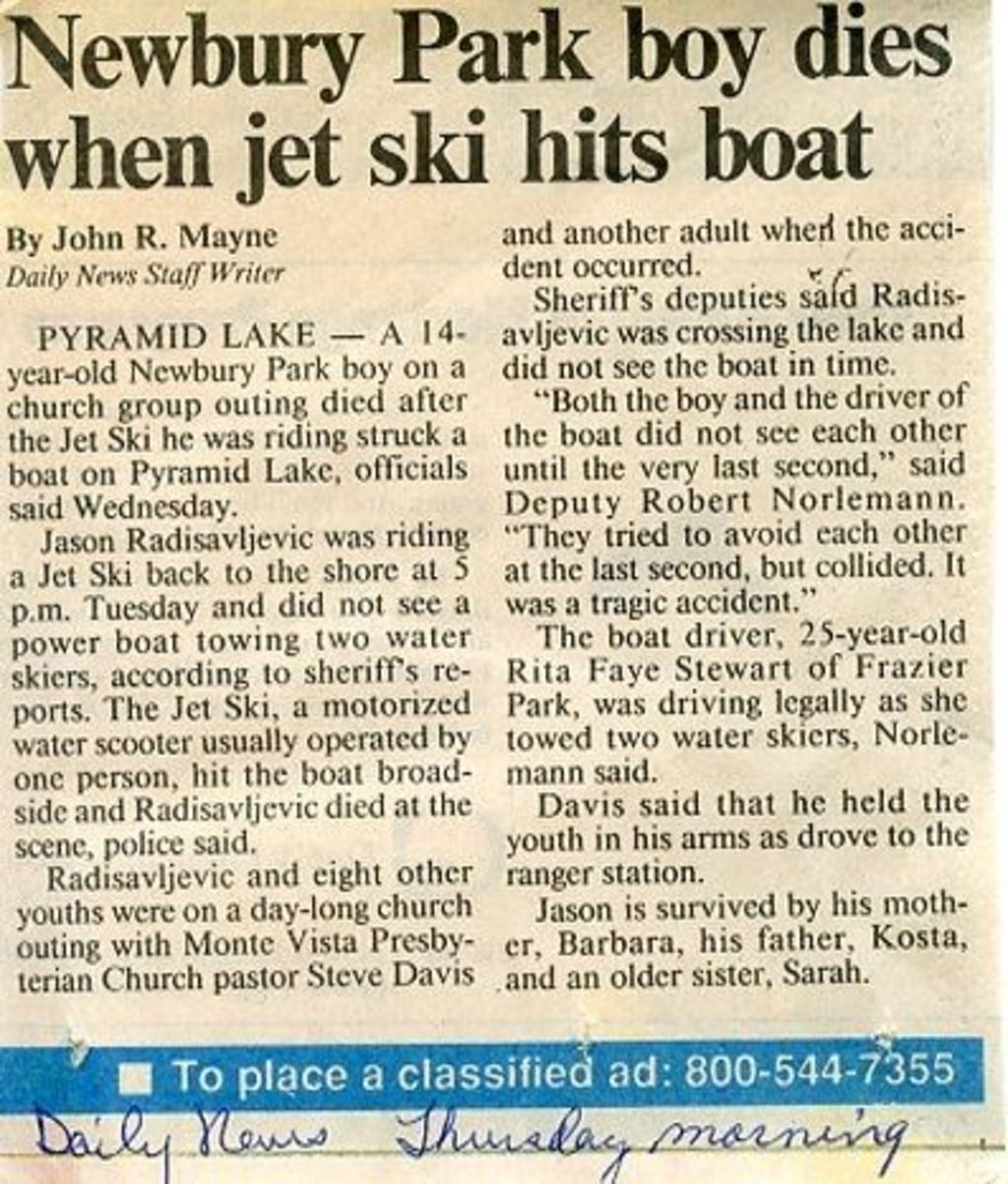 Daily News Story of Jason's Death, sent to us by  friend.