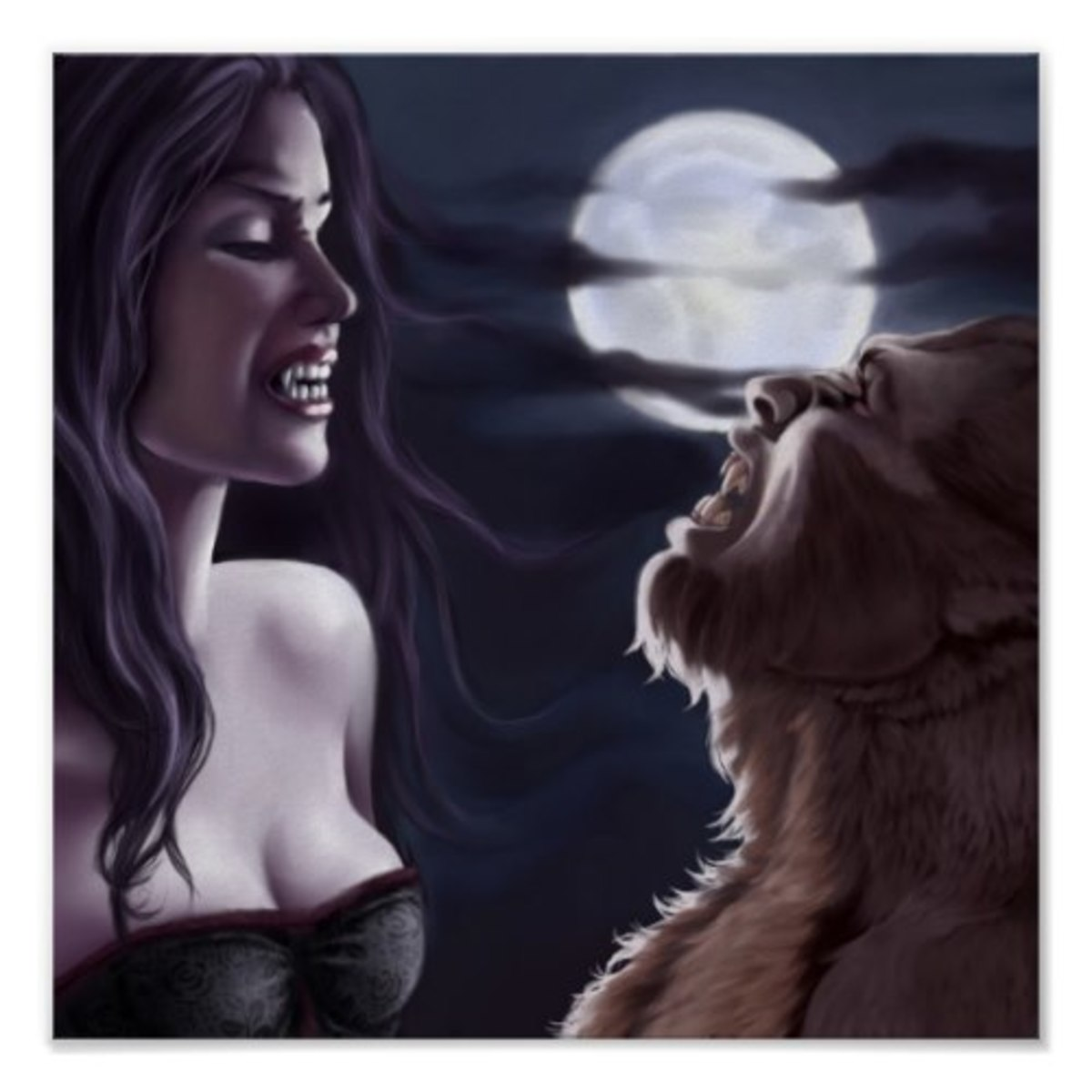 Vampire and werewolves on the night of the full moon.