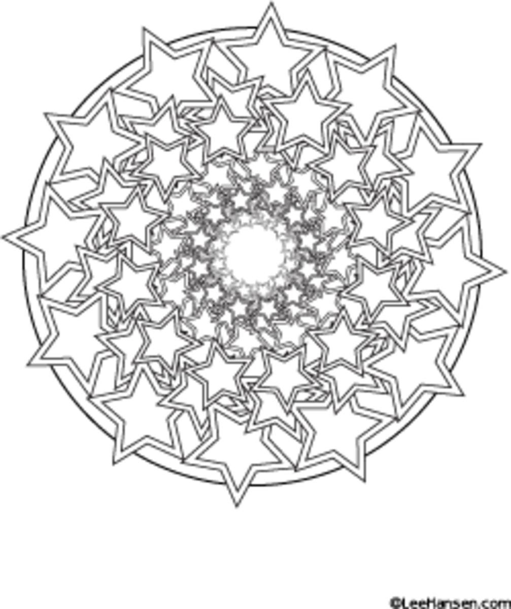 Star spiral mandala design coloring page