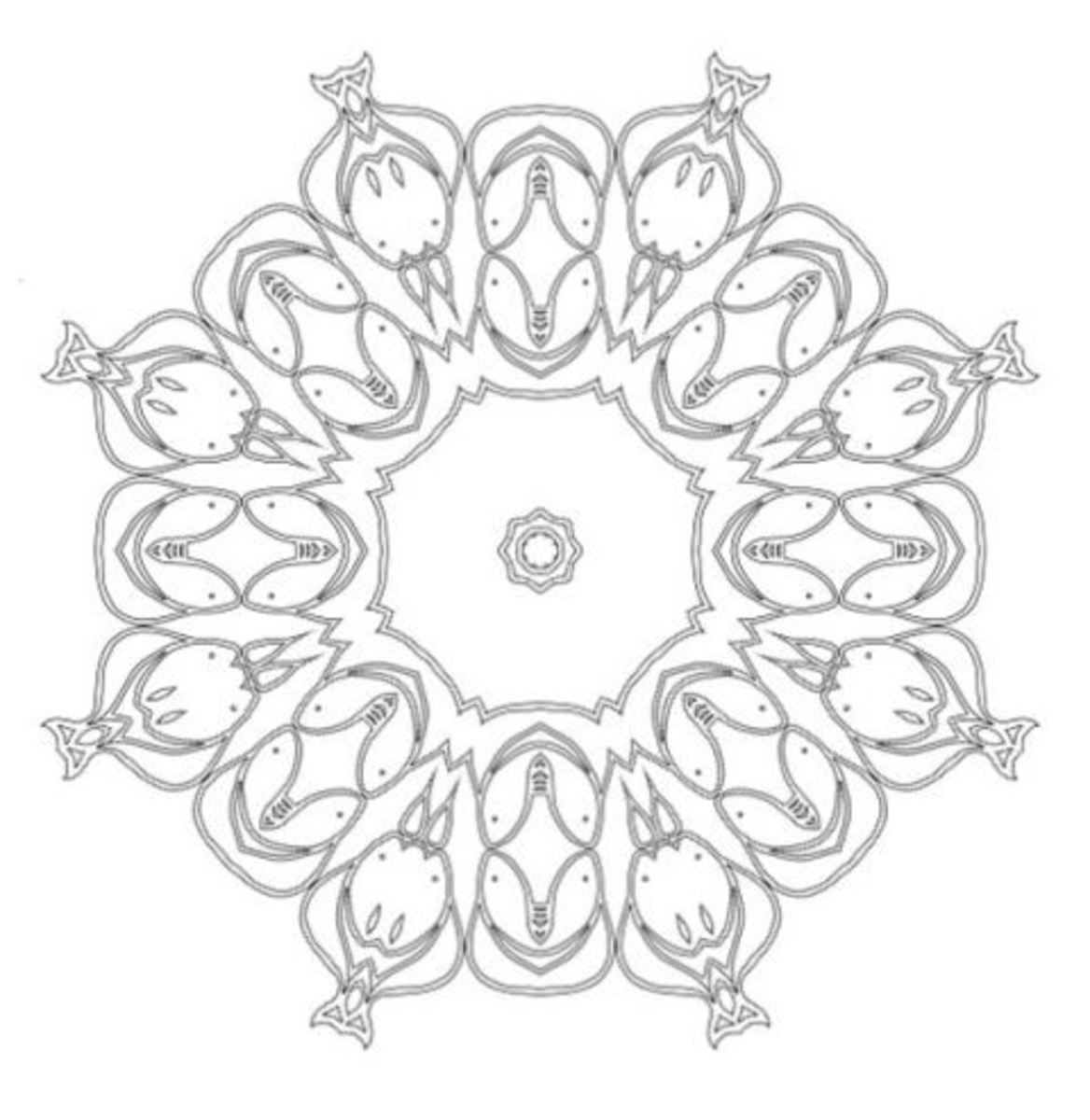 Lotus mandala design abstract coloring sheet