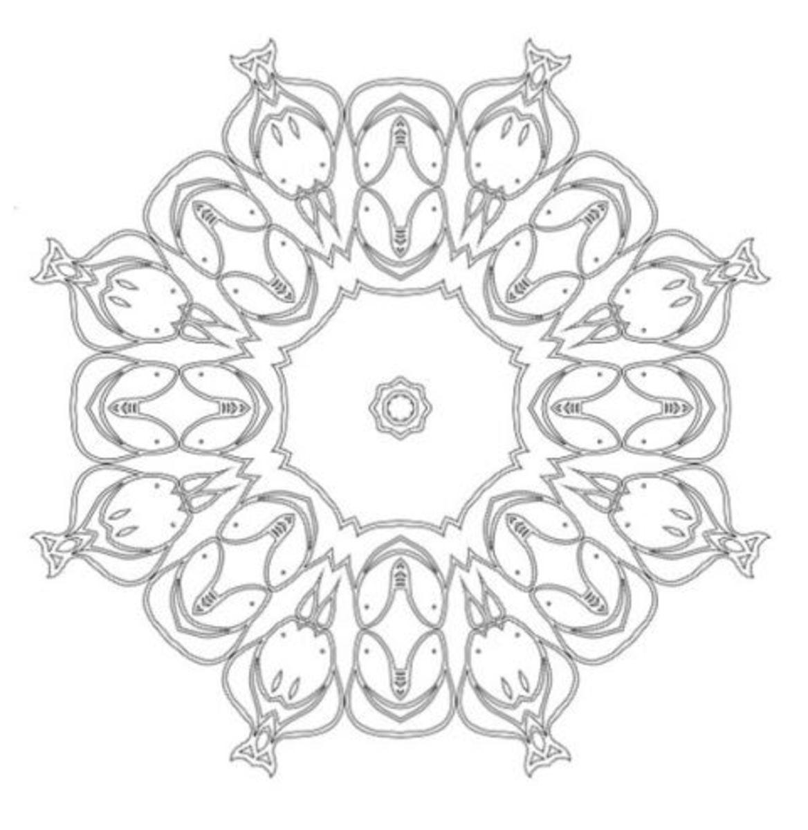 Lotus mandala design abstract coloring sheet