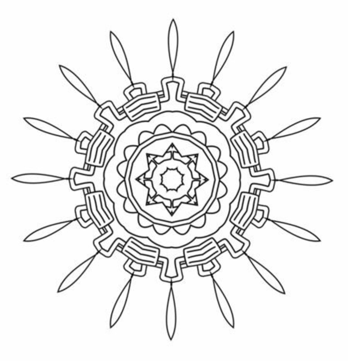 Meditation wheel design coloring page