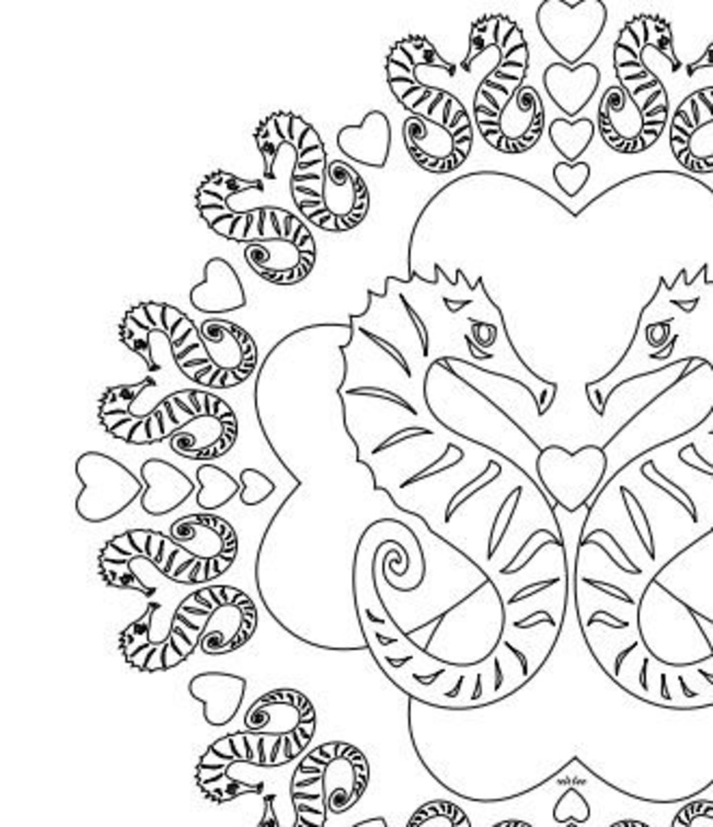 Seahorses and hearts mandala design