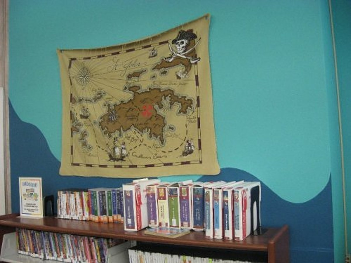 A pirate map on display in the library children's room.